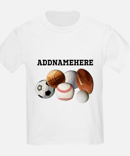 Sports Balls, Custom Name T-Shirt