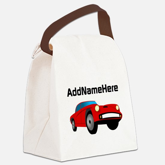Sports Car, Custom Name Canvas Lunch Bag