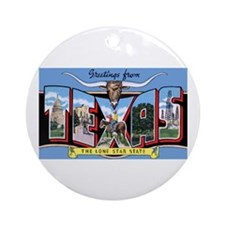 Texas Greetings Ornament (Round)