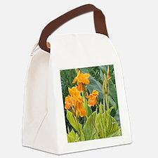 Orange Canna Flowers Canvas Lunch Bag