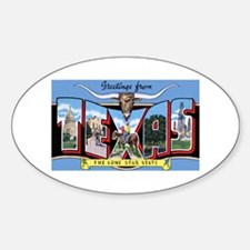 Texas Greetings Oval Decal