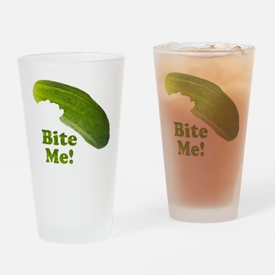 Bite Me! Pickle Drinking Glass