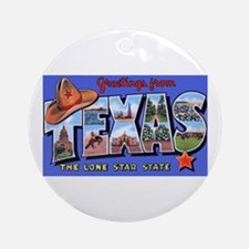 Texas Greetings Ornament (Round)