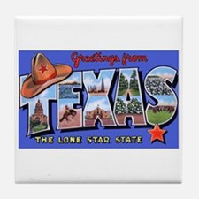 Texas Greetings Tile Coaster
