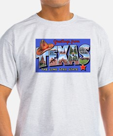 Texas Greetings (Front) Ash Grey T-Shirt