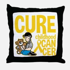 Cure Childhood Cancer Bear Throw Pillow