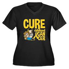 Cure Childhood Cancer Bear Women's Plus Size V-Nec