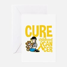 Cure Childhood Cancer Bear Greeting Cards (Pk of 2