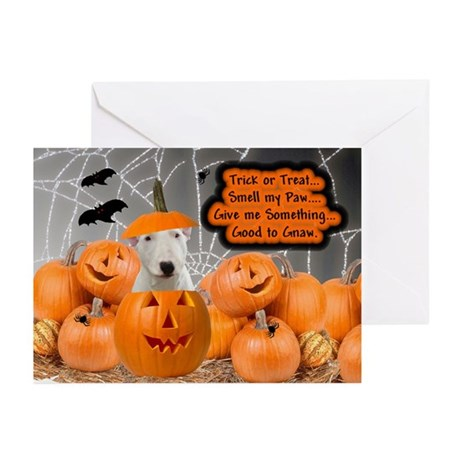 Bull Terrier Halloween (White) Greeting Cards (Pac