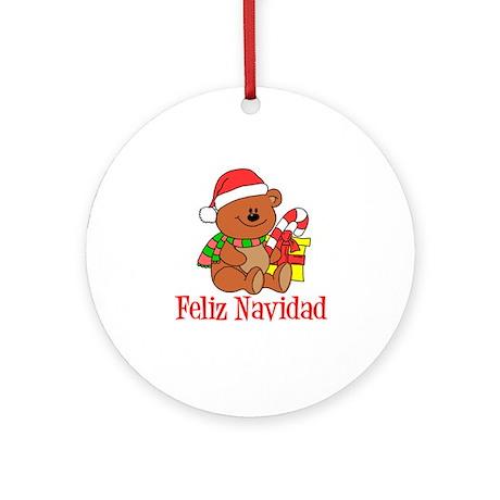 Feliz Navidad Bear Ornament (Round)