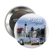 Maine Lighthouses Button
