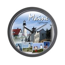 Maine Lighthouses Wall Clock