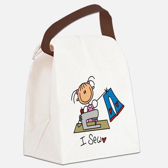 I Sew Stick Figure Canvas Lunch Bag