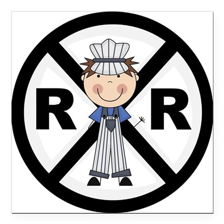 "RRBOYCONDUCTOR.png Square Car Magnet 3"" x 3"""