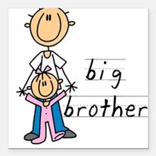 Big Brother With Little Sister Square Car Magnet 3