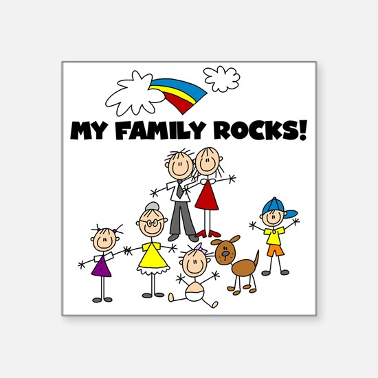 FAMILY STICK FIGURES Square Sticker 3&Quot; X 3&Qu