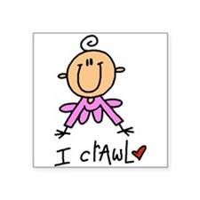 "girlicrawlgetee.png Square Sticker 3"" x 3"""