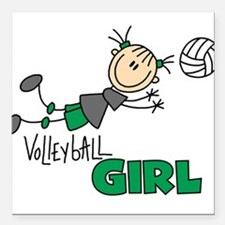 """VOLLEYBALLGIRLTEE.png Square Car Magnet 3"""" x 3"""""""