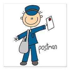 "postmanstick.png Square Car Magnet 3"" x 3"""