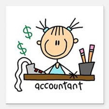 "ACCOUNTANTSTICKFIG.png Square Car Magnet 3"" x 3"""