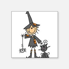 "WITCHSTICKWITHCAT.png Square Sticker 3"" x 3"""