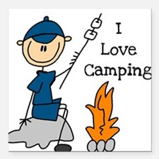 "LOVECAMPINGBOY.png Square Car Magnet 3"" x 3"""