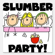 "stickslumberpartyabc.png Square Car Magnet 3"" x 3"""