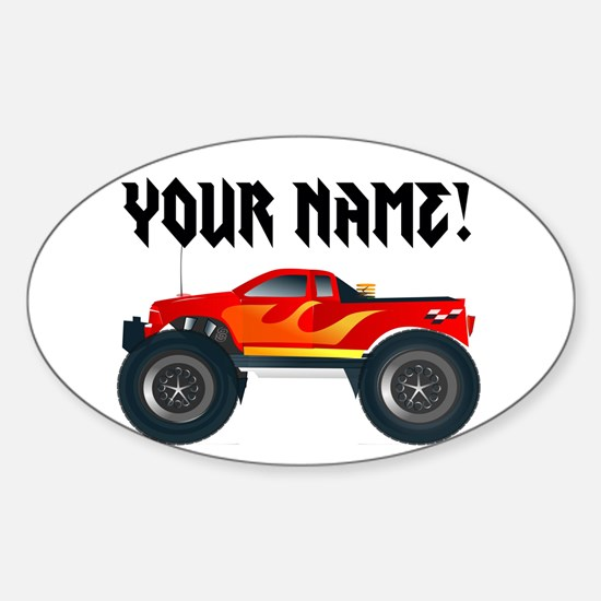 Red Monster Truck Personalized Sticker (Oval)
