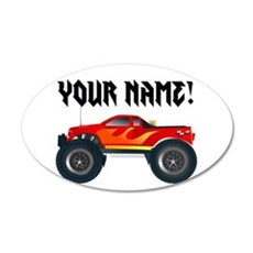 Red Monster Truck Personalized 20x12 Oval Wall Dec