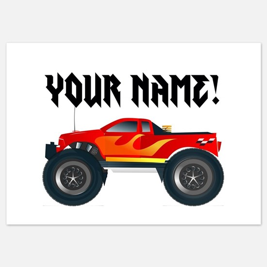 Red Monster Truck Personalized 5x7 Flat Cards