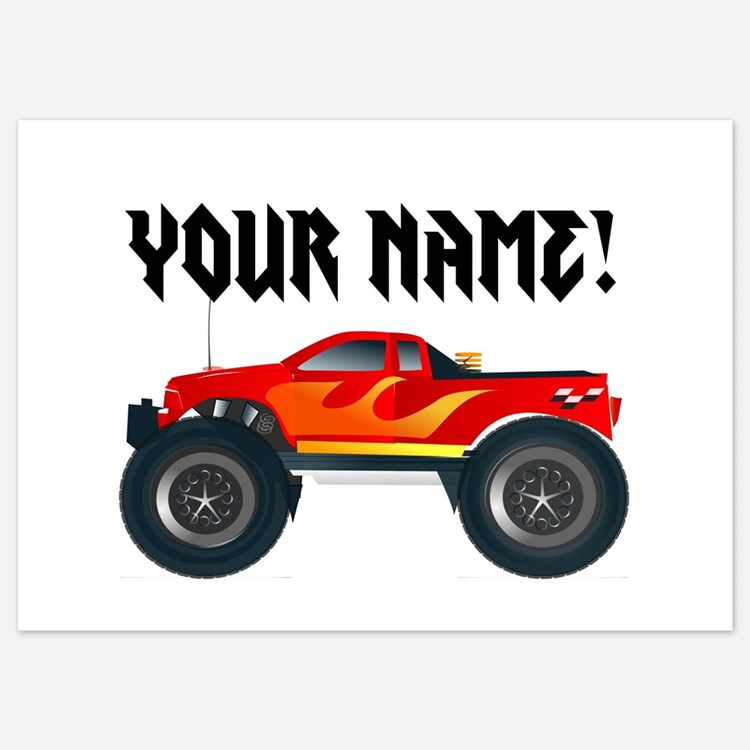 Red Monster Truck Personalized Invitations