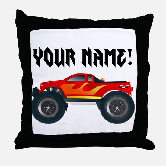 Red Monster Truck Personalized Throw Pillow