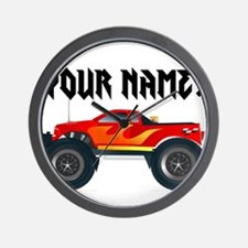 Red Monster Truck Personalized Wall Clock