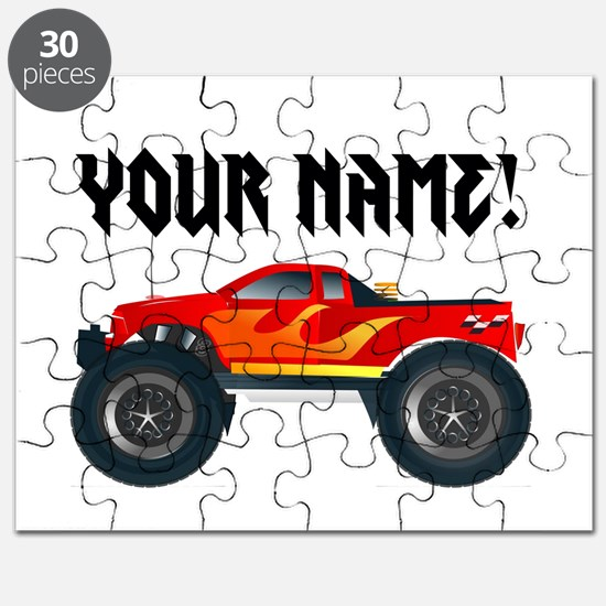 Red Monster Truck Personalized Puzzle