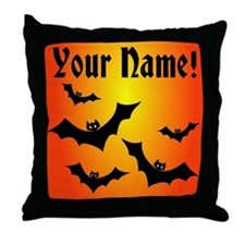 Personalized Halloween Bats Throw Pillow