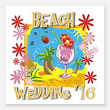 "Beach Wedding 16 Square Car Magnet 3"" X 3&quo"