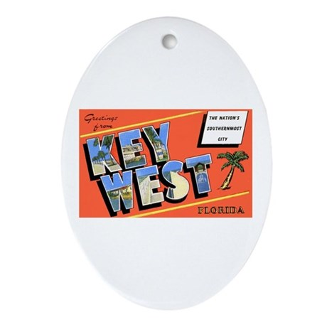 Key West Florida Greetings Oval Ornament