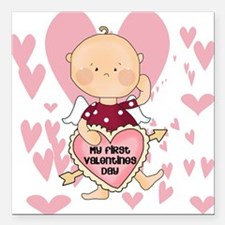 """HEARTSFIRSTVALDAY.png Square Car Magnet 3"""" x 3"""""""