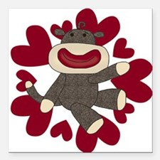 "sockmonkeyvalentieS.png Square Car Magnet 3"" x 3"""