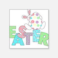 "WHITERABBITEASTERTEE.png Square Sticker 3"" x 3"""