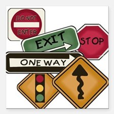 """TPSIGNSTEE.png Square Car Magnet 3"""" x 3"""""""