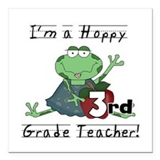 Hoppy 3rd Grade Teacher Square Car Magnet 3""