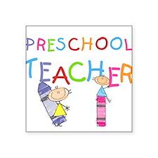 """crayonpreschoolteacher.png Square Sticker 3"""" x 3"""""""