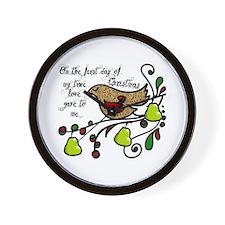 Partridge in a pear tree Wall Clock
