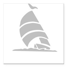 "Sailboat Silhouette Square Car Magnet 3"" x 3"""
