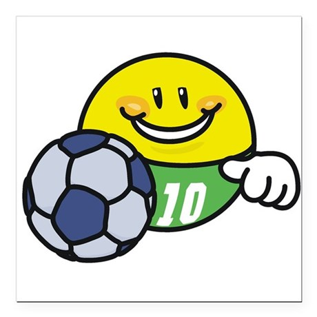 "SMILEYSOCCER.png Square Car Magnet 3"" x 3"""
