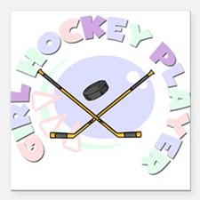 """girlhockeyplayer.png Square Car Magnet 3"""" x 3"""""""