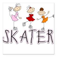 "skatergirltee.png Square Car Magnet 3"" x 3"""
