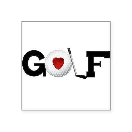 "HEARTGOLFBALLTEE.png Square Sticker 3"" x 3"""