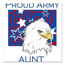 "BLUEEAGLEARMYaunt.png Square Car Magnet 3"" x 3"""